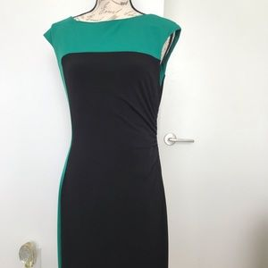 Connect Apparel Dress W/Ruched Sides-Green & Black